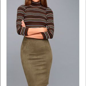 Olive green suede pencil skirt